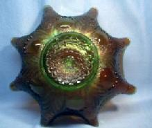 BULLS EYE & LEAVES Carnival Glass Bowl - Vintage Green Northwood Glass