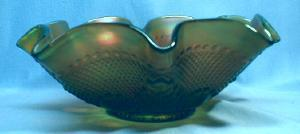 BULLS EYE & LEAVES Carnival Glass Bowl - Vintage Green Northwood Glass