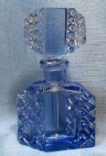 Czech Perfume Bottle - Original Rich Peacock Blue - Vintage Antique Signed Czechoslovakia Glass