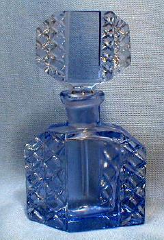 Czech Perfume Bottle - Original Rich Peacock Blue - Vintage Antique Signed Czechoslovakia Glass