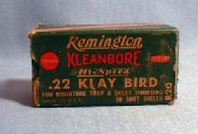 old Remington KLEANBORE .22 KLAY BIRD Rifle Shell Box - Vintage Sporting