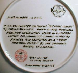 Norman Rockwell Plate THE MUSIC MAKER Limited Edition Porcelain Plate