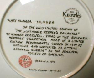 Limited  Norman Rockwell THE LIGHT KEEPERS DAUGHTER - Limited Edition Collector Plate