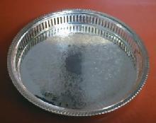 vintage Silverplate Vanity/Perfume Tray - LR Silver Pierced Rim Tray
