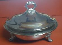 old  Silverplate Covered Serving Dish - Vintage Large Casserole Size