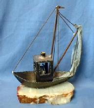 Model  Sailing Ship Folk Art Metalware on Quartz