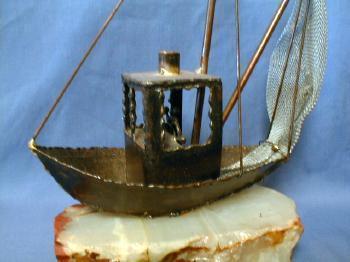 Model  Sailing Ship Folk Art Metalware on Quartz