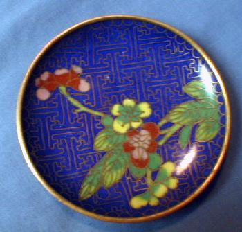 vintage Oriental Cloisonne Dish Tray - metalware