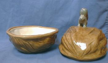 Vintage  Squirrel on Nut - Covered Dish - Pottery