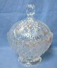 glass Lead Crystal Covered Candy Dish - LARGE Glass Compote