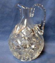 Cut Glass Cruet Pitcher - Lead Crystal Jug