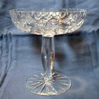 Cut Glass Compote - Lead Crystal Footed Pedestal Dish