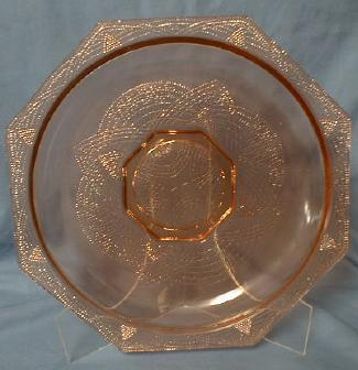 Depression Era Glass Serving Plate Charger Platter  - Pink Lacy Pattern