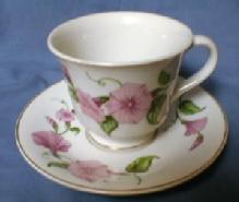 Morning Glory Cup and Saucer - Vintage Pottery porcelain