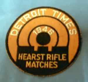 old 1946 Detroit Times RIFLE Match Patch - Vintage sporting