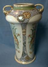 Nippon Pottery Porcelain Vase - PARROTS - Art Deco era
