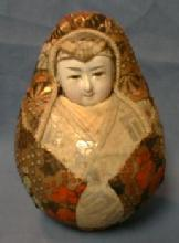 old vintage Porcelain Face Oriental Roly Poly Doll - toy