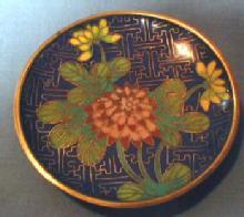 blue Oriental Cloisonne Dish Tray - Vintage Oriental Metalware
