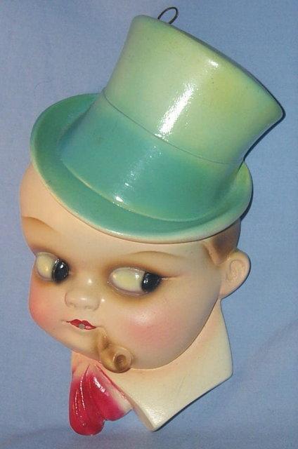 Boy in Top Hat Chalkware STRINGHOLDER - Misc.
