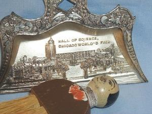 3 Piece Set of Crumb Pans with Broom Depicting 1933 CENTURY OF PROGRESS CHICAGO FAIR - Metalware