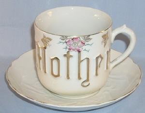 Large German Porcelain MOTHER Cup & Saucer Set.