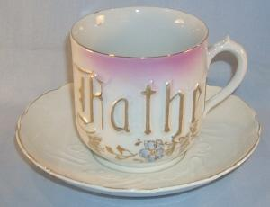 Large German Porcelain FATHER Cup & Saucer Set