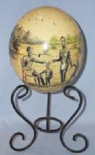 Black Americana Hand Painted OSTRICH EGG on Stand - Ethnographic