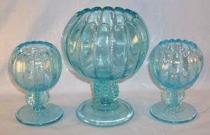 Three L. G. Wright Stormy Blue Glass Footed Rose Bowls