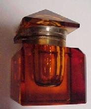 Cut Amber Inkwell - Glass