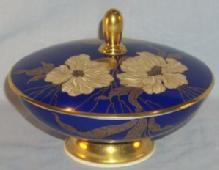 ROSENTHAL Gold Trimmed Blue Covered Porcelain Footed Bowl