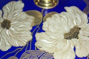 ROSENTHAL Gold Trimmed Blue Covered Porcelain Footed Bowl