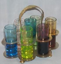 Seven MultiColor Shot Glasses in Carrier