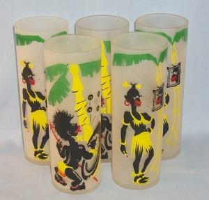 Set of Five Painted BLACK AMERICANA Frosted Ice Tea Glasses - ethnographic