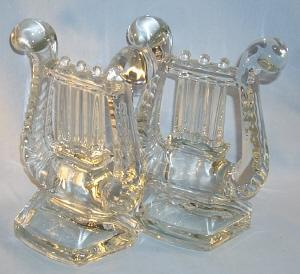 FOSTORIA Clear Glass LYRE Bookends
