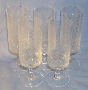 Five ROSENTHAL Etched Crystal Stemm Glasses - Glass