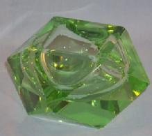 Beautiful Square Green ART GLASS Ashtray