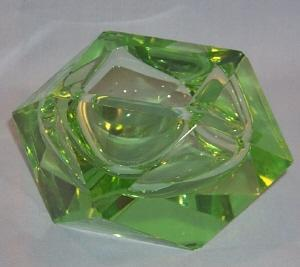 Beautiful Square Green ART GLASS Ashtray
