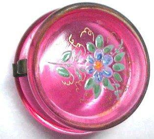 Enameled Cranberry Patch Box - Glass