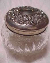 DRESSER Jar Cut Glass Sterling Lid / Puff - Silver