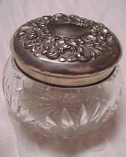 DRESSER Jar Cut Glass Sterling Lid / Puff - Silver