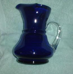 Cobalt Art Glass Pitcher - Large 64oz with Turned Lip