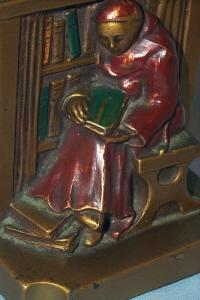RONSON LIBRARY MONK Polychrome Bookends - Metalware