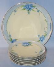Seven Piece NIPPON Hand Painted Porcelain Dessert Set