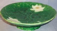 Green Holdcroft MAJOLICA Pottery Pond Lily Bowl