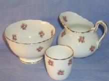 Three Piece English Pink Rose Porcelailn Tea Set