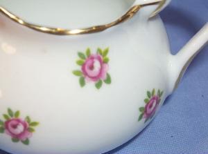 Three Piece English Pink Rose Porcelailn Tea Set