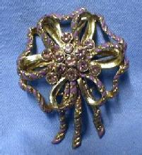 Jewelry  Lilac Lavender Enamel & Rhinestone Brooch - Vintage Costume Jewelry