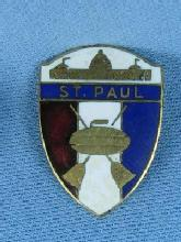 old St Paul Curling Club Pin - Enameled Sporting