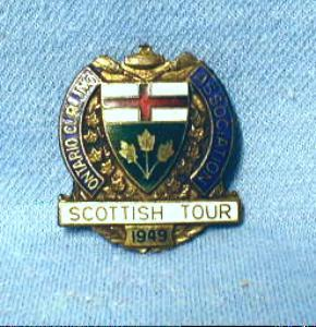 old 1949 Ontario Curling Pin - Scottish Tour - Enameled Sporting Metalware