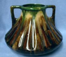 Belgium Art Pottery Vase Vintage - Rich Brown w/Green 2-handle Pot